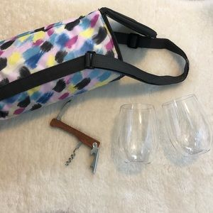 Wine cooler tote, glasses and opener